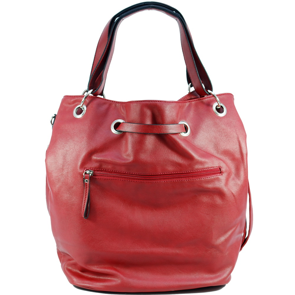 Dasein Tote Bag with Zipper Decoration-Red