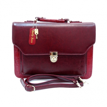 Belle Rose Business Briefcase with Compartments & Shoulder Strap for Office Lady-Red