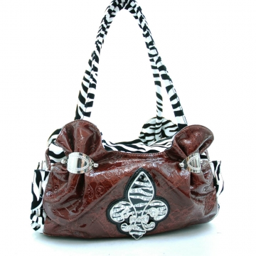 Animal print accent Fleur De Lis sign shoulder bag