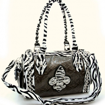 Animal print accent, rhinestone Fleur De Lis sign shoulder bag