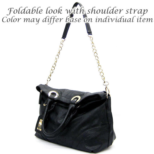 Emperia® Rough Surface Shoulder Bag with Partial Chain Handle