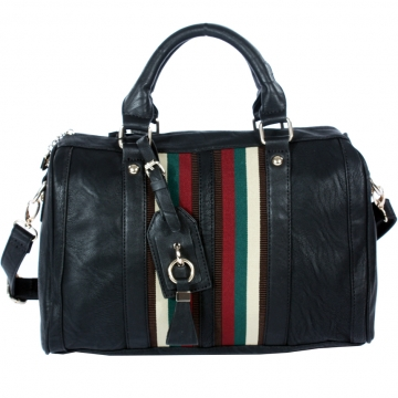 Designer inspired strip satchel with shoulder strap