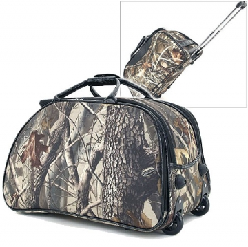 Realtree ® Stylish Camouflage Wheeled Rolling Duffel Bag & Luggage-Camouflage / Black