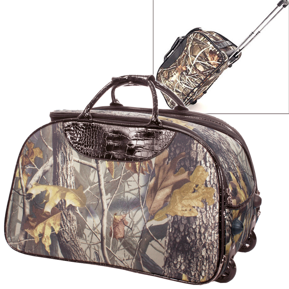 Realtree ® Stylish Camouflage Wheeled Rolling Duffel Bag & Luggage with Croco Accent-Camouflage / Coffee