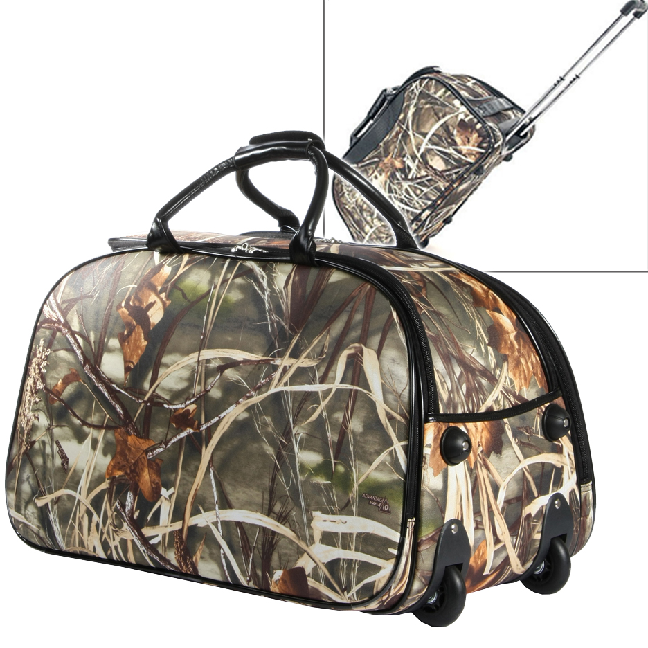 Realtree ® Fashion Camouflage Wheeled Rolling Duffel Bag & Luggage-Camouflage / Black