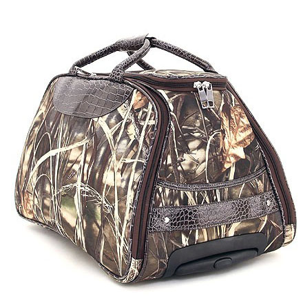 Realtree ® Fashion Camouflage Wheeled Rolling Duffel Bag & Luggage with Croco Accent-Camouflage / Coffee