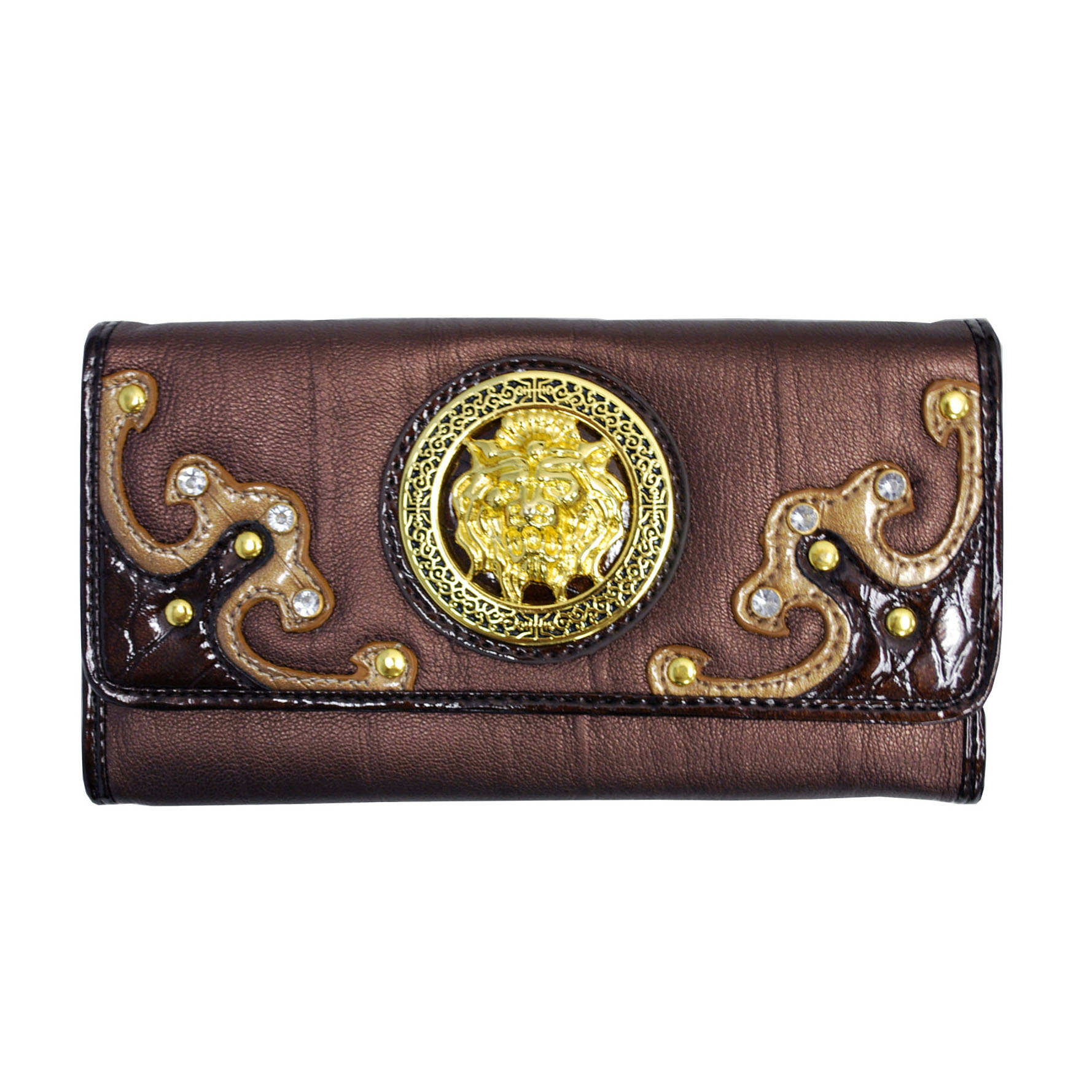 Meada Designer Inspired Lion Emblem Accented Checkbook Wallet-Bronze