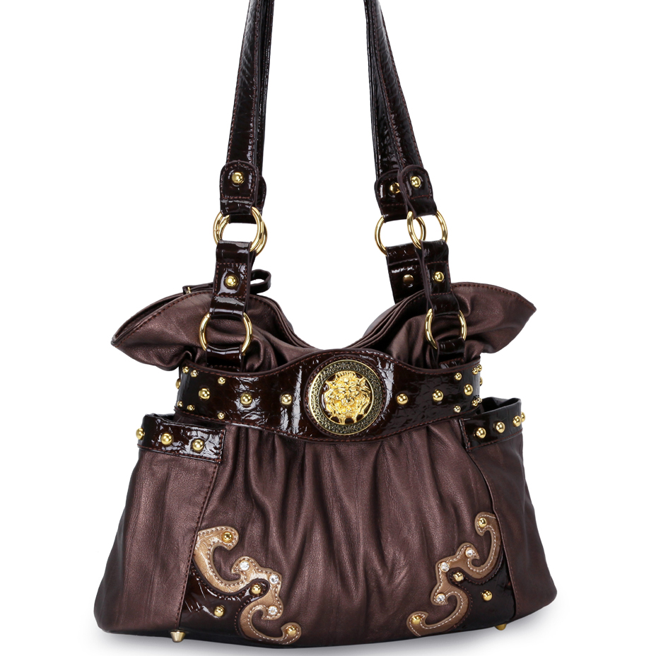 Designer inspired lion emblem accented shoulder bag