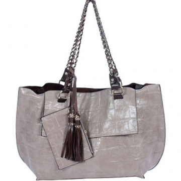 2 in 1 shopper tote bag with chain carrying straps and coin purse