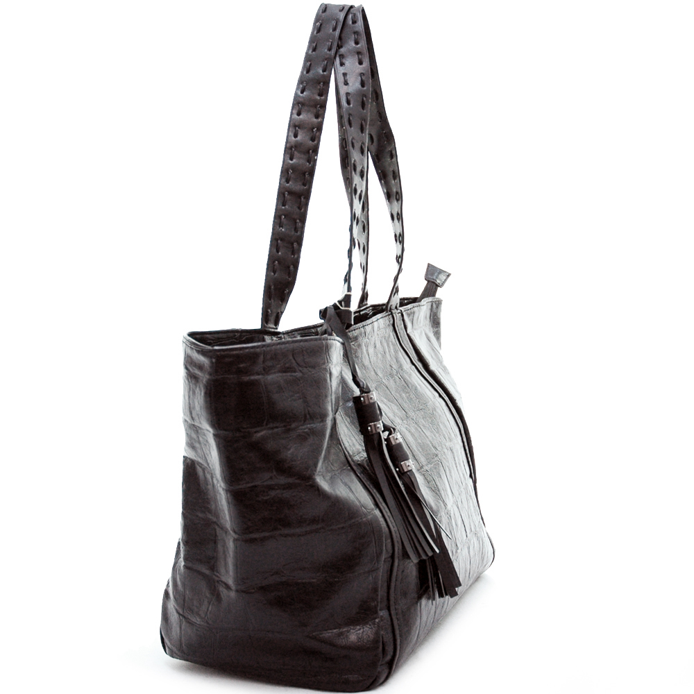 Shopper tote bag handbag with croco texture embossed material