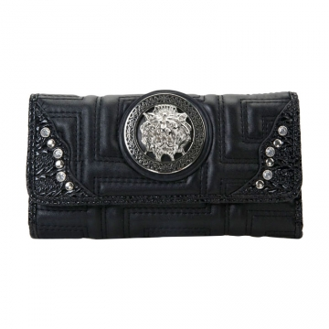 Designer Inspired Lion Emblem Accented Quilted Checkbook Wallet-Black