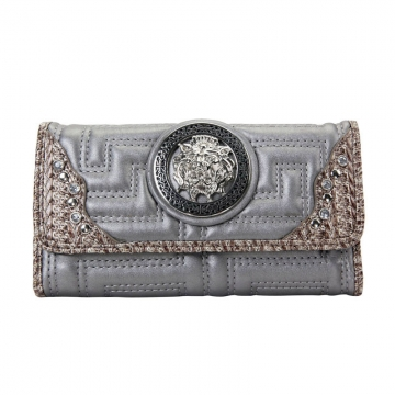 Designer Inspired Lion Emblem Accented Quilted Checkbook Wallet-Grey