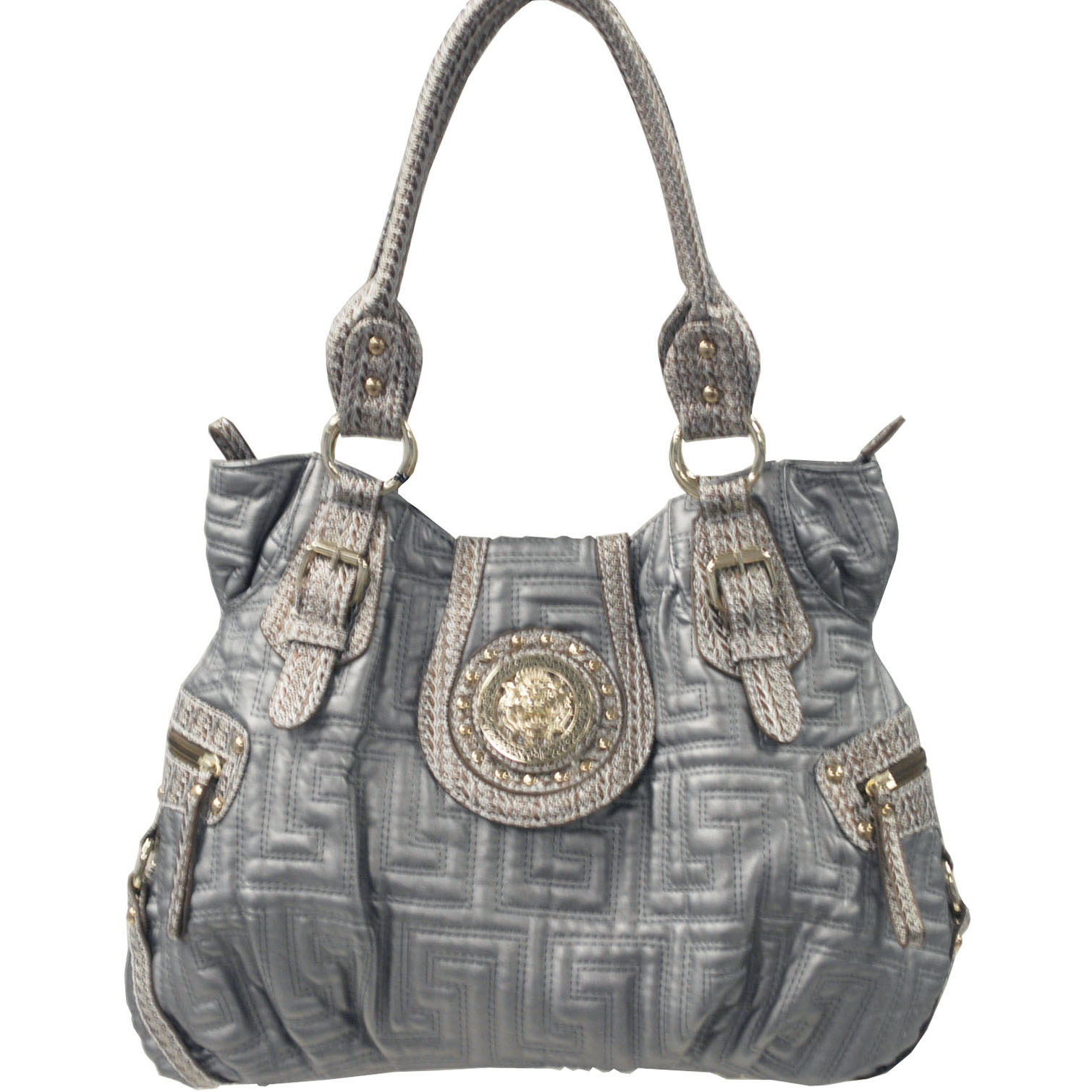 Designer inspired lion emblem accented quilted shoulder bag with side pockets