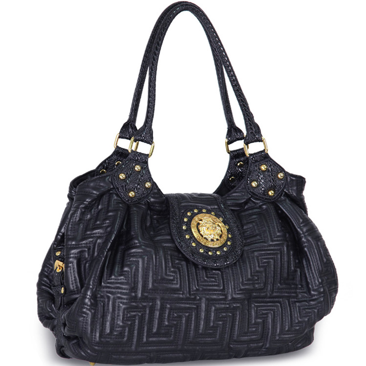 Meada® Quilted Lion Emblem Shoulder Bag