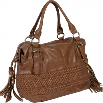 Emperia satchel bag handbag with tassel and woven decoration