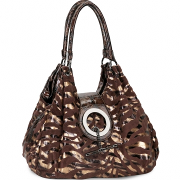 Designer inspired velboa hobo bag w/ gold foil zebra prints