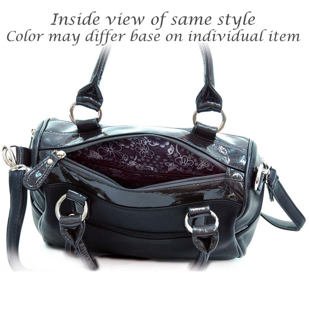 Shiny leather trim satchel bag with shoulder strap