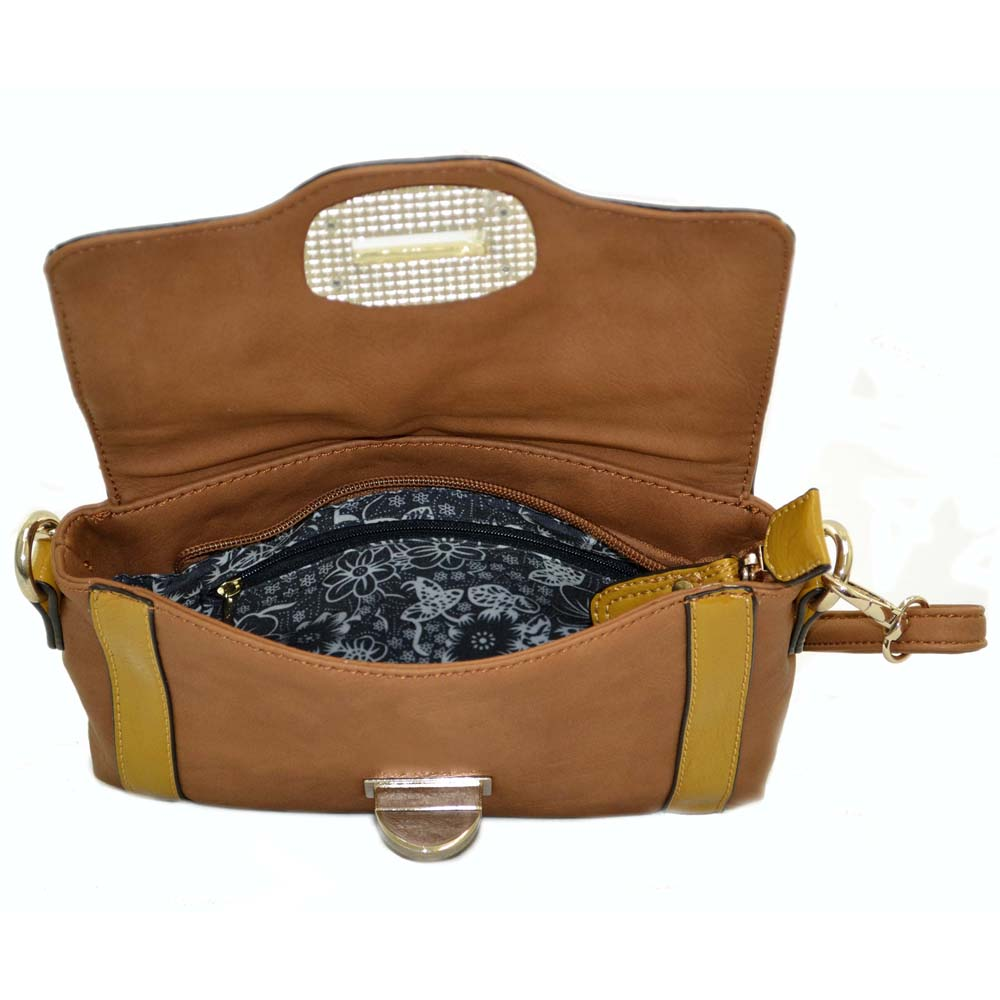 Shiny leather trim front open messenager Bags