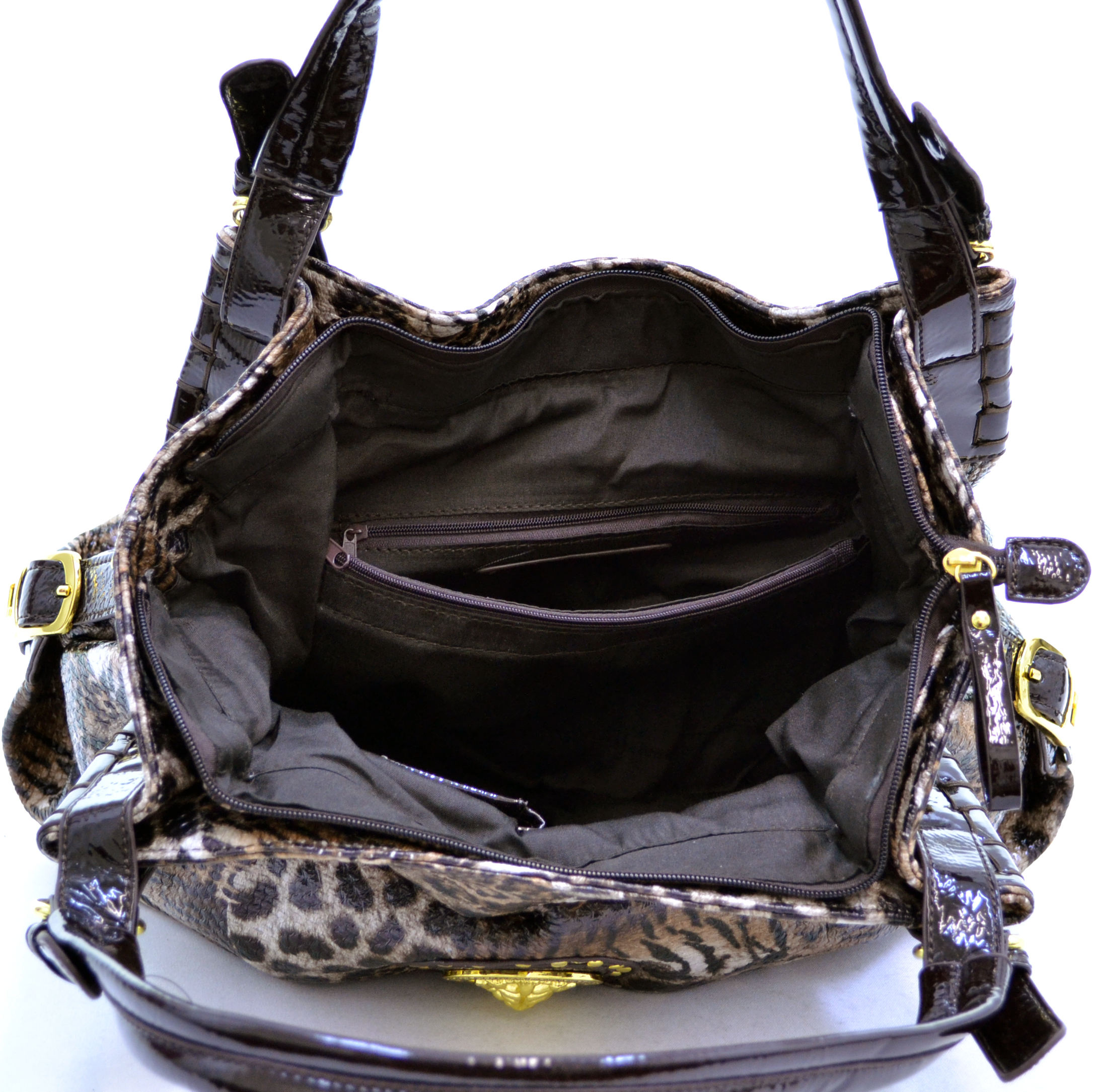 Animal print shoulder bag with gold lion head and studs-brown.