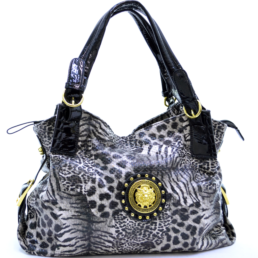 Animal print shoulder bag with gold lion head and studs