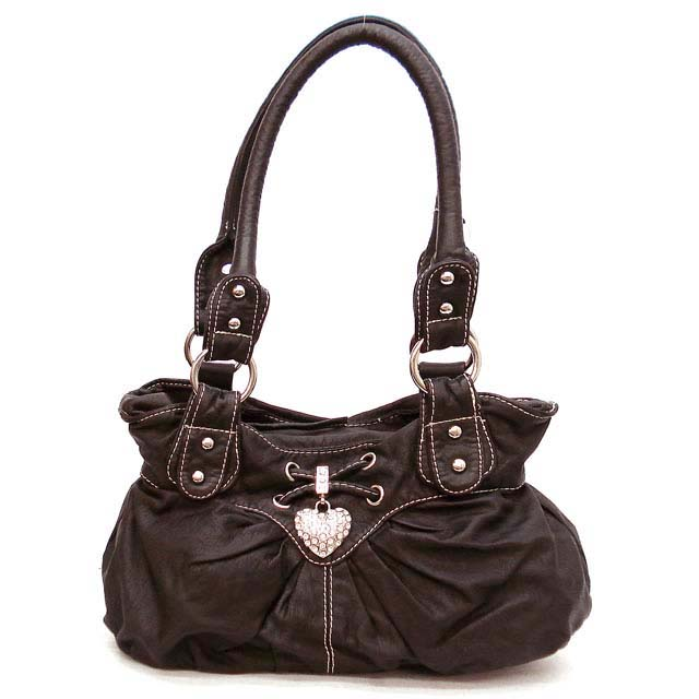 Stone washed shoulder bag w/ rhinestone heart charm