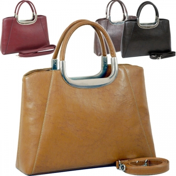 Vani Designer Inspired Fine Textured Leather Look Like Satchel-Tan