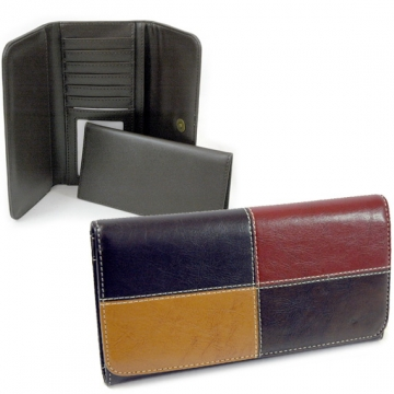 Dasein Fine Textured Leather Like Classic Checkbook Wallet-Black/Red/Tan/Coffee