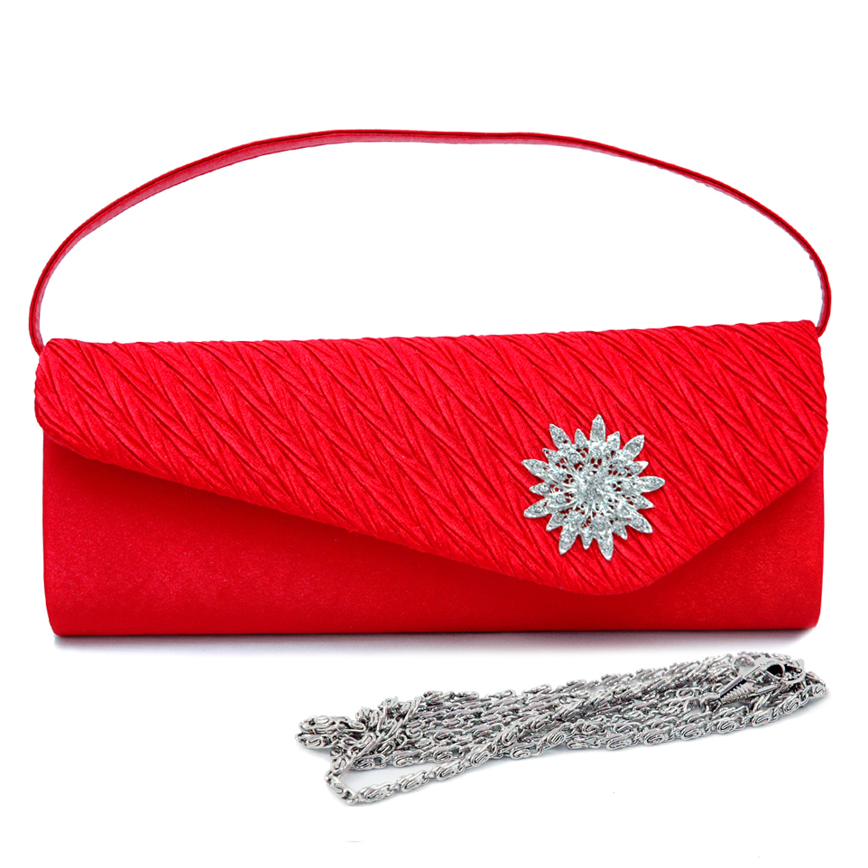 Pleated Asymmetric Evening Bag with Rhinestone Jewel
