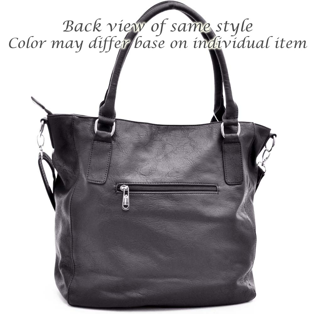 Tote bag with fashion flap pocket on front