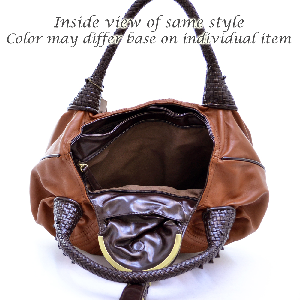 Designer inspired soft hobo bag with braided handles