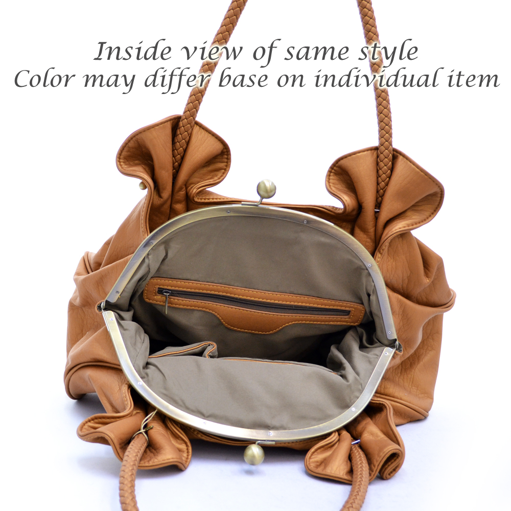 Soft kiss lock satchel with braided handles
