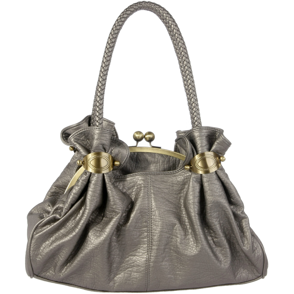 Soft kiss lock satchel with braided handles Silver