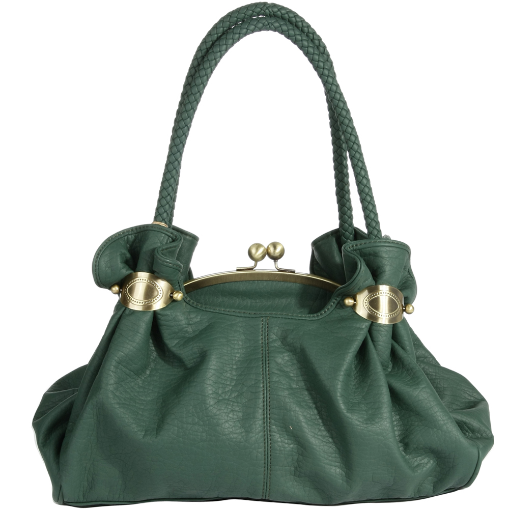 Soft kiss lock satchel with braided handles Green