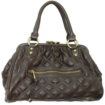 Soft quilted satchel w/ detachable chain shoulder strap
