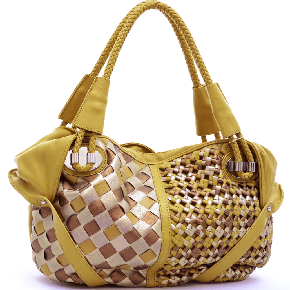 Soft fashion tote with woven design