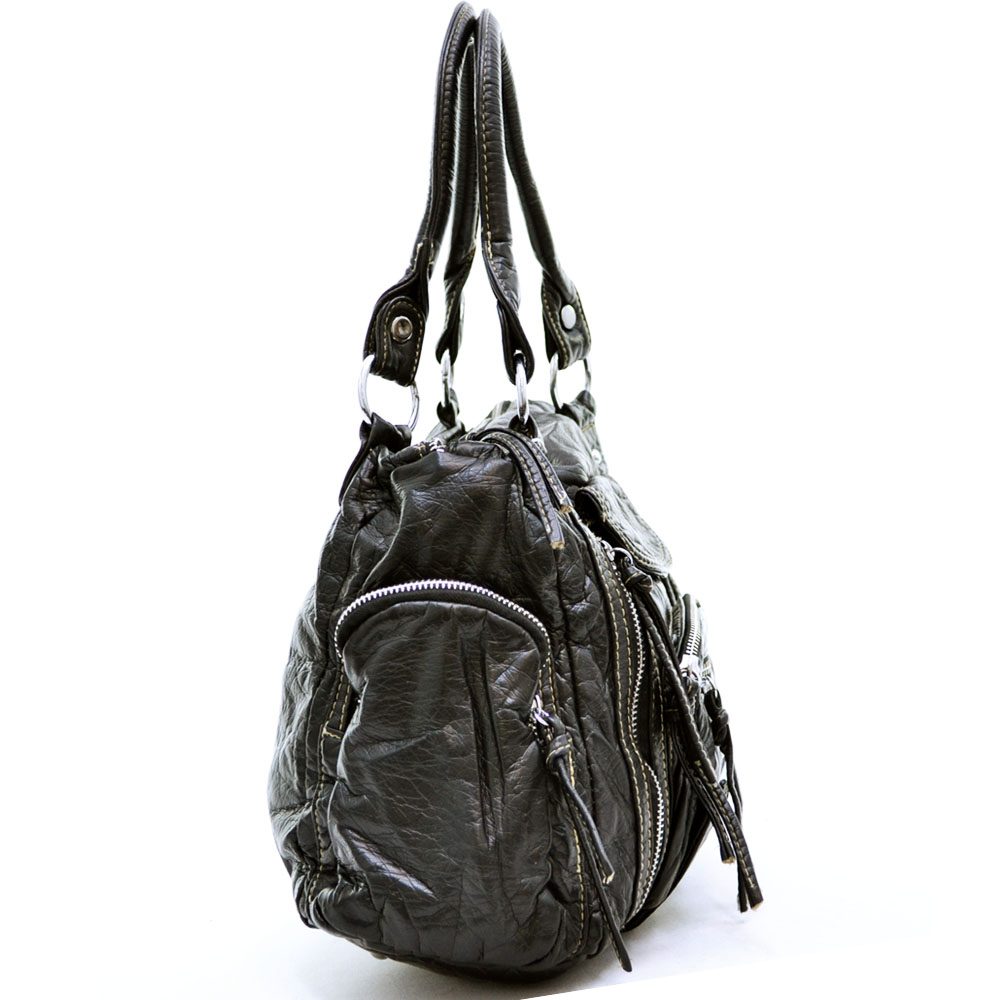 Soft hobo bag w/ zippered pockets and tassels