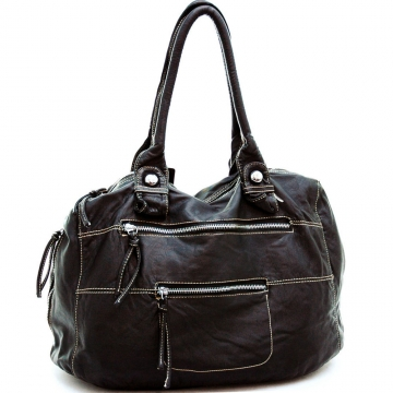 Ustyle Soft Fashion Tote Bag with Zippered Pockets-Black
