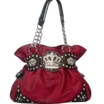 Shoulder bag w/ chain & rhinestone crown Red