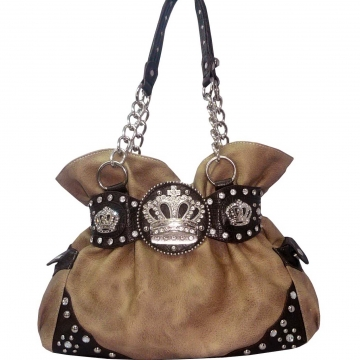 Shoulder bag w/ chain & rhinestone crown Brown