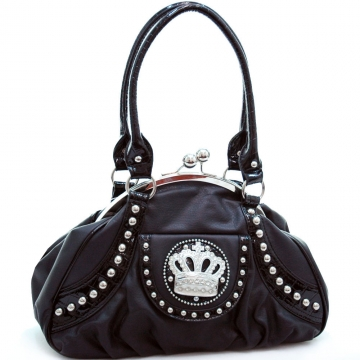 Ustyle Studded Accent Satchel Bag with Rhinestone Crown-Black