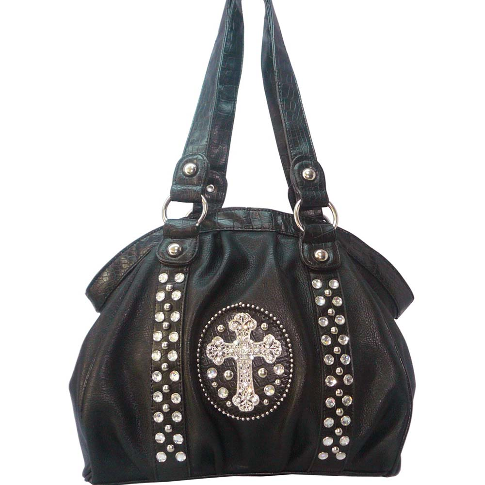 Western studded shoulder bag w/ rhinestone cross