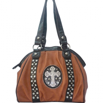 Ustyle Western Studded Shoulder Bag with Rhinestone Cross-Camel