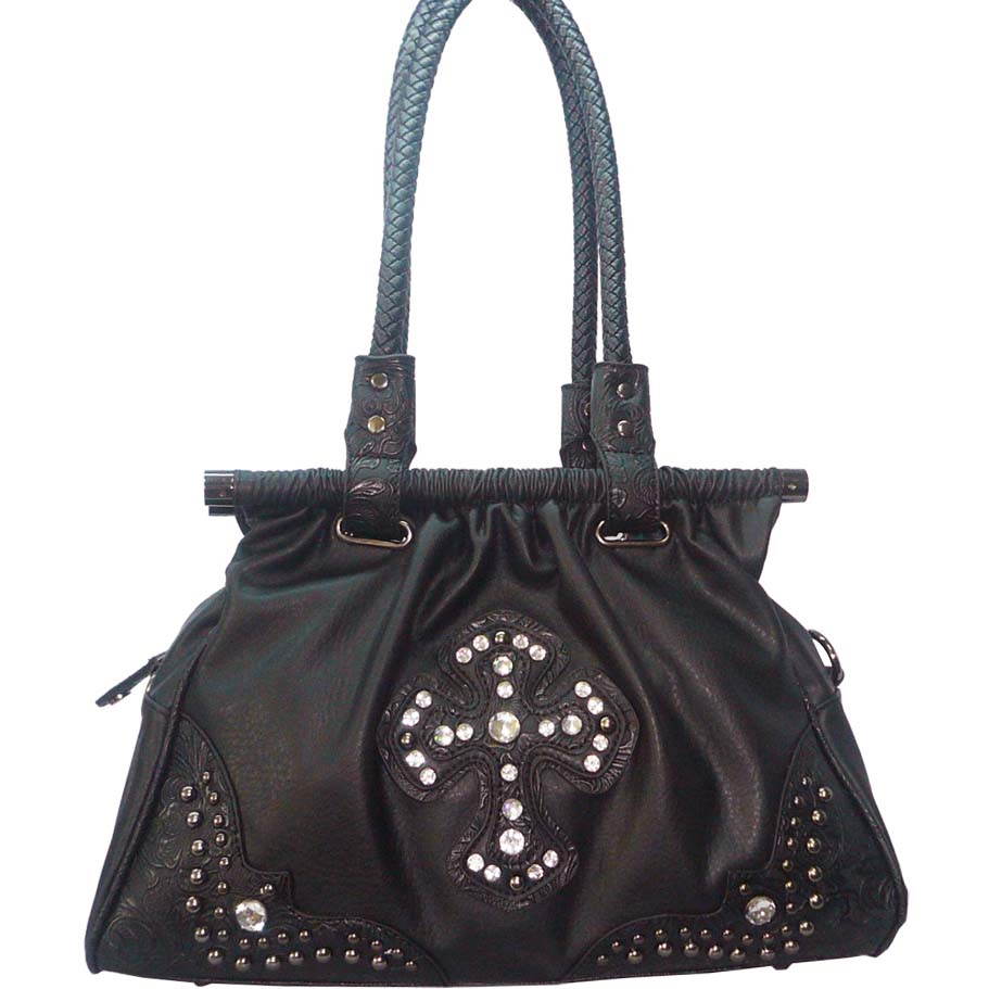 Western satchel bag w/ rhinestone cross