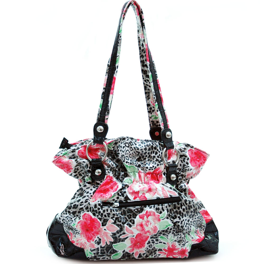 Animal & flower print handbag w/ rhinestone belted buckle
