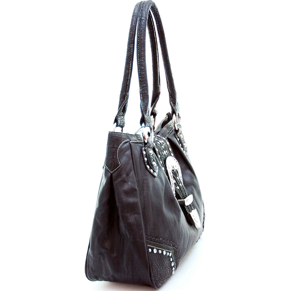 Montana West Western Tote Bag with Rhinestone Buckle-Black