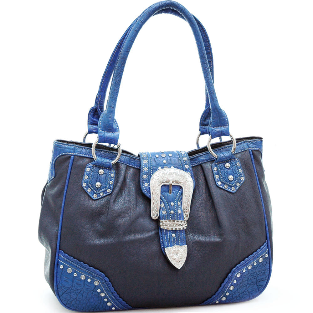 Montana West Western Tote Bag with Rhinestone Buckle-Blue