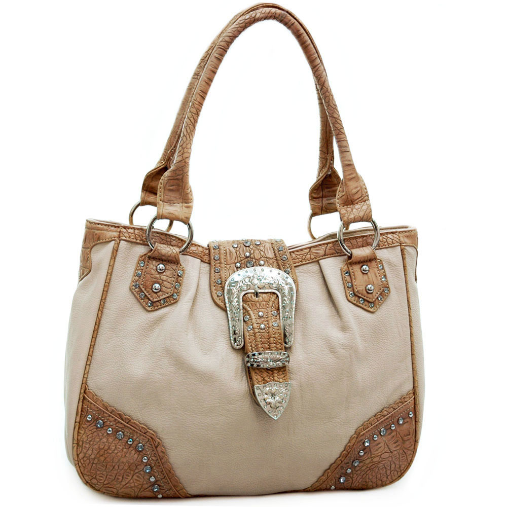 Montana West Western Tote Bag with Rhinestone Buckle-Tan