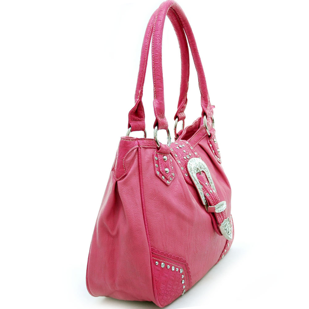 Montana West Western Tote Bag with Rhinestone Buckle-Hot Pink