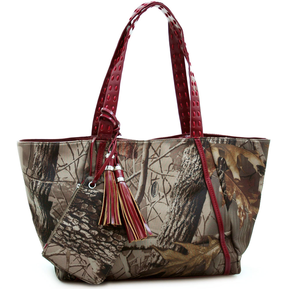 Realtree® Camouflage Tassel Accented Tote Bag W/ Coin Purse - Red