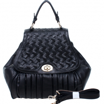 Emperia Pleated Satchel Bag Handbag with Woven Design-Black